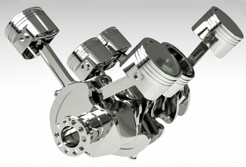 Pistonger och vevaxel för motor som V6 isoleras på vit bakgrund illustration 3d royaltyfri illustrationer