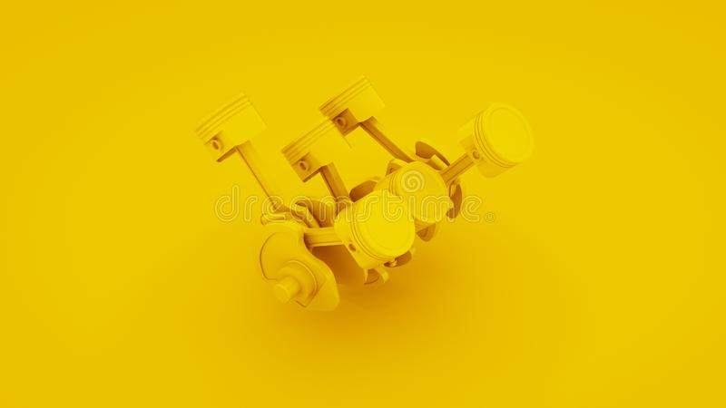 Pistoni ed albero a gomito del motore su fondo giallo illustrazione 3D fotografie stock