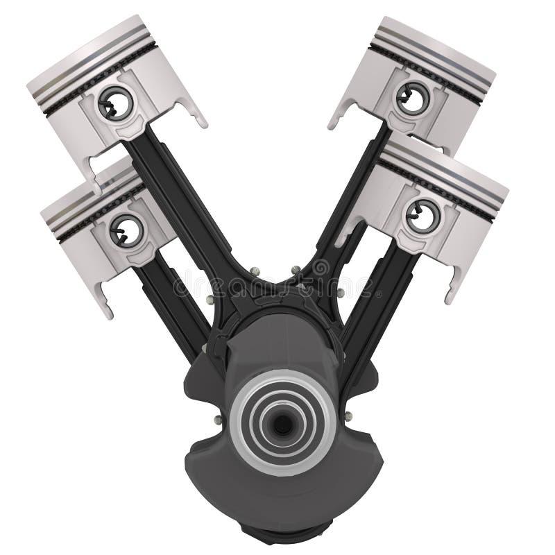 Pistons de moteur et ensemble de vilebrequin illustration de vecteur