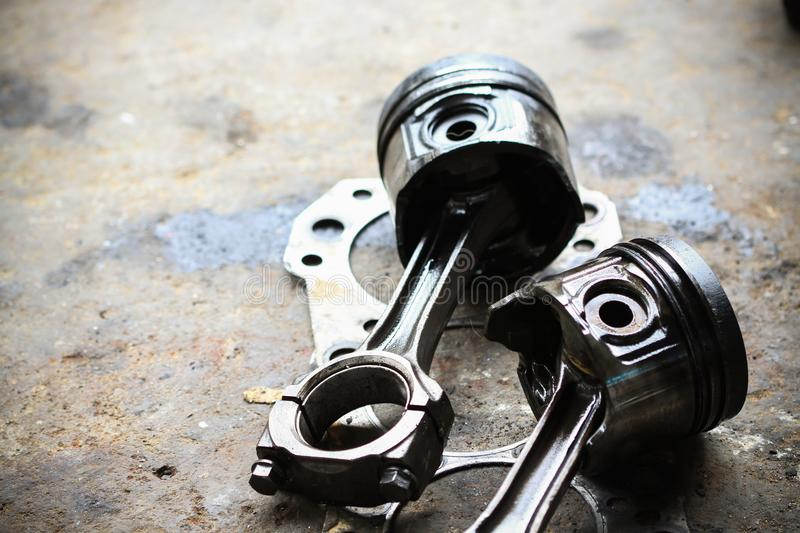 Pistons that have been used for a long time and exceed the wear and tear. stock photos