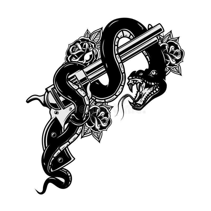 Pistool met slang adder Ontwerpelement voor affiche, t-shirt, kaart royalty-vrije illustratie