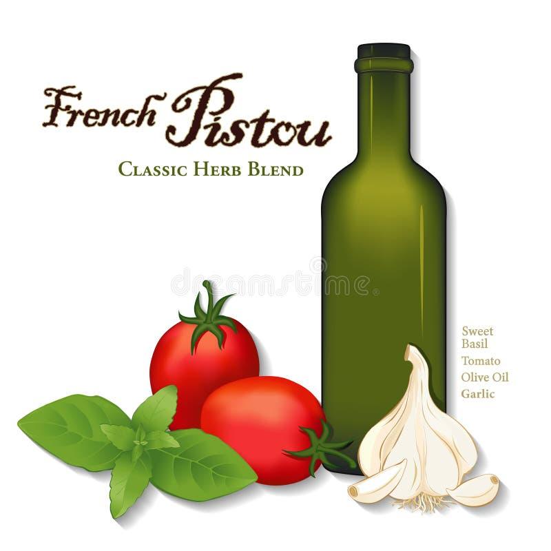 Pistou, francés Herb Sauce, albahaca dulce, tomates libre illustration