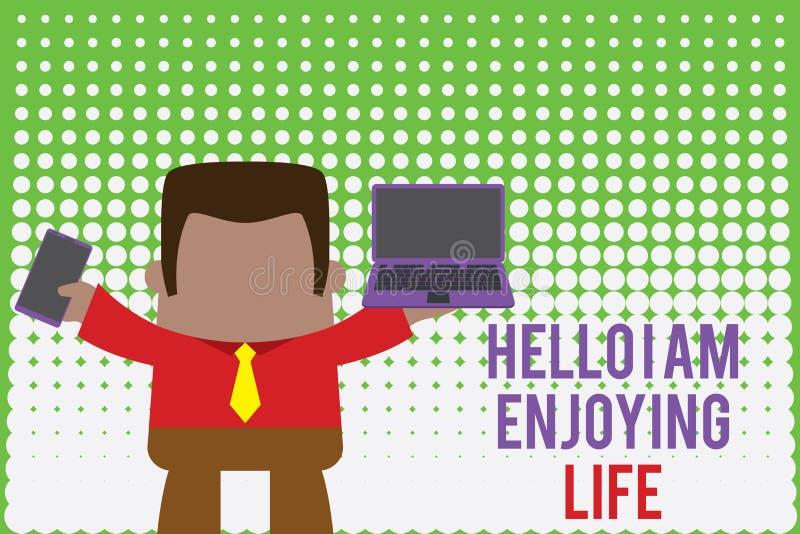 Pisząc notkę Hello I Am Enjoy Life Fotografia biznesowa prezentująca radosny, relaksowany styl życia Korzystaj z prostych rzeczy ilustracji