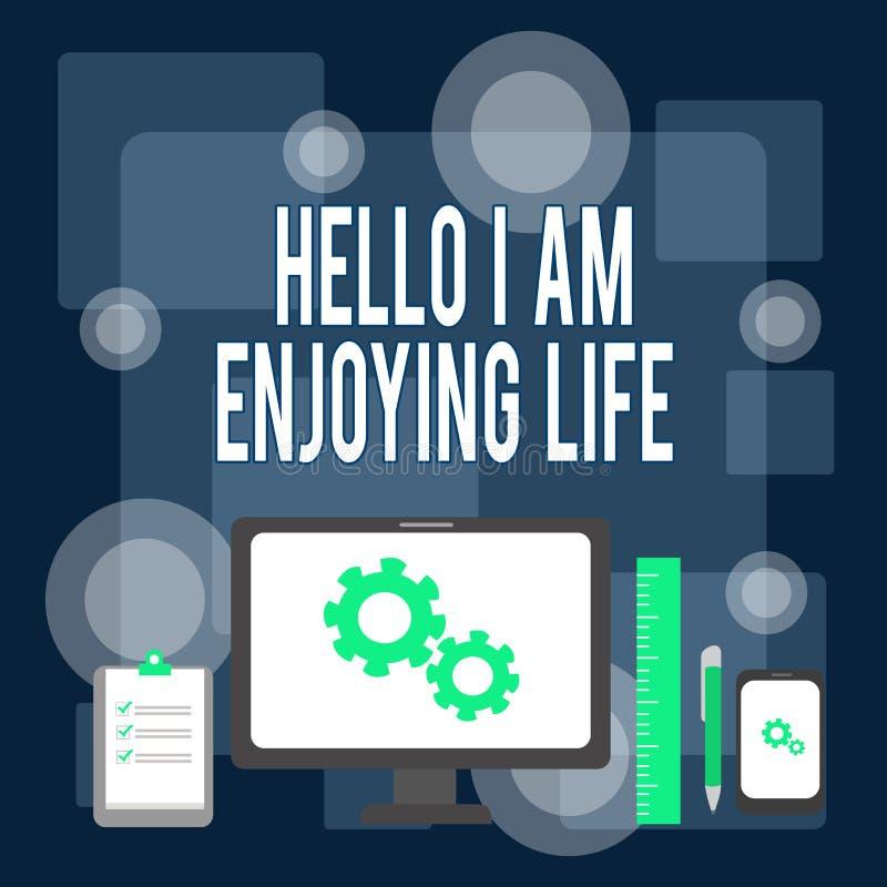 Pisząc notkę Hello I Am Enjoy Life Fotografia biznesowa prezentująca radosny, relaksujący się styl życia Korzystaj z prostych rze ilustracja wektor