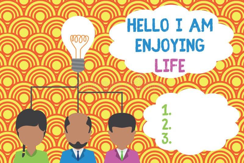 Pisząc notkę Hello I Am Enjoy Life Zdjęcia biznesowe ukazujące szczęśliwy zrelaksowany styl życia Korzystaj z prostych rzeczy Gru ilustracji