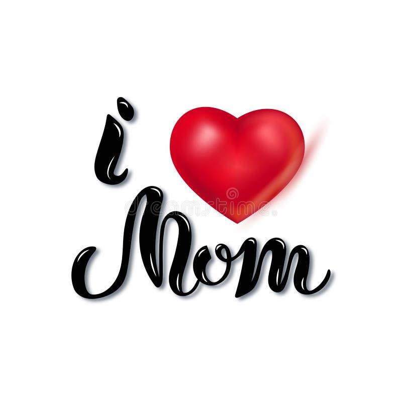 Piszący list miłości Ty mama z sercem ilustracji