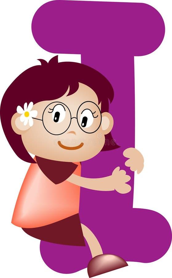 piszę list alfabetu dziewczyna royalty ilustracja