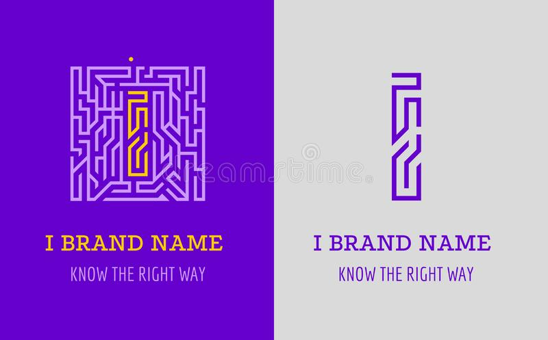 Piszę list logo labirynt Kreatywnie logo dla korporacyjnej tożsamości firma: list Ja Logo symbolizuje labitynt, wybór prawa ścież ilustracja wektor