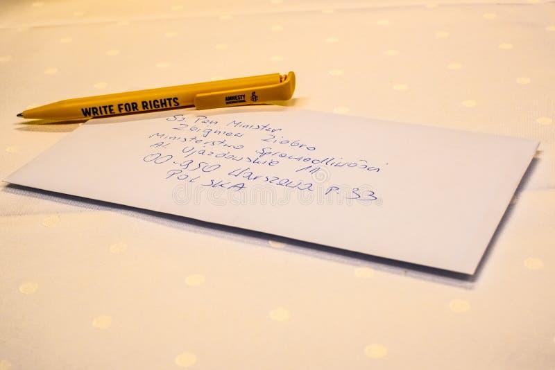 Pisze Dla prawic, duży prawa człowieka wydarzenie Amnesty International zdjęcie royalty free