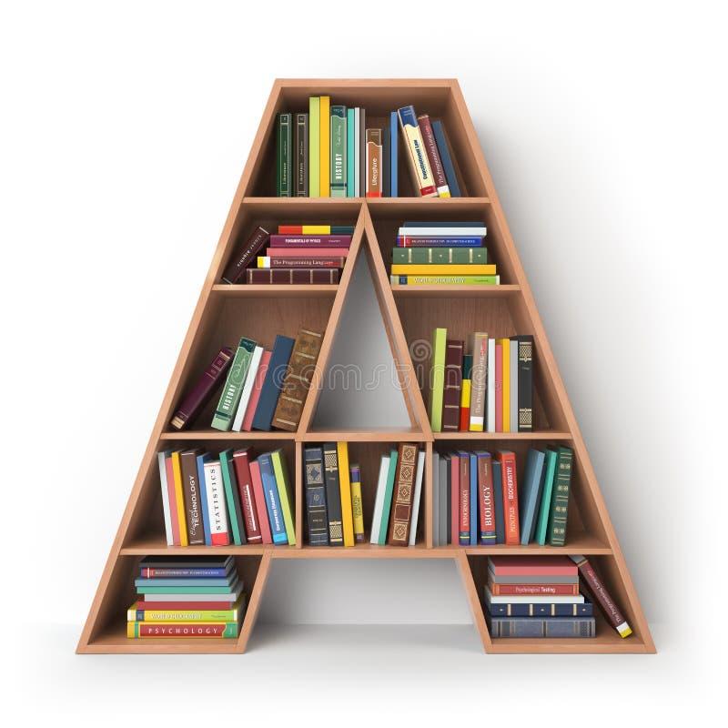 Pisze list A Abecadło w postaci półek z książkami odizolowywać dalej royalty ilustracja