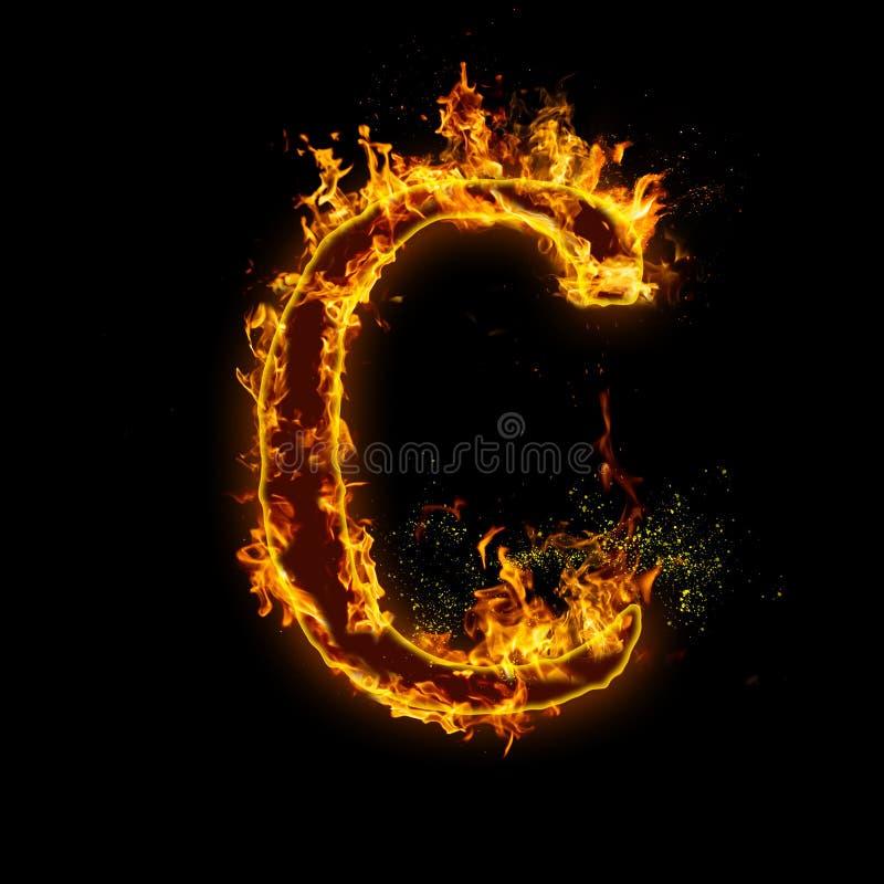 Pisze list C Ogień płonie na czarnym odosobnionym tle ilustracji
