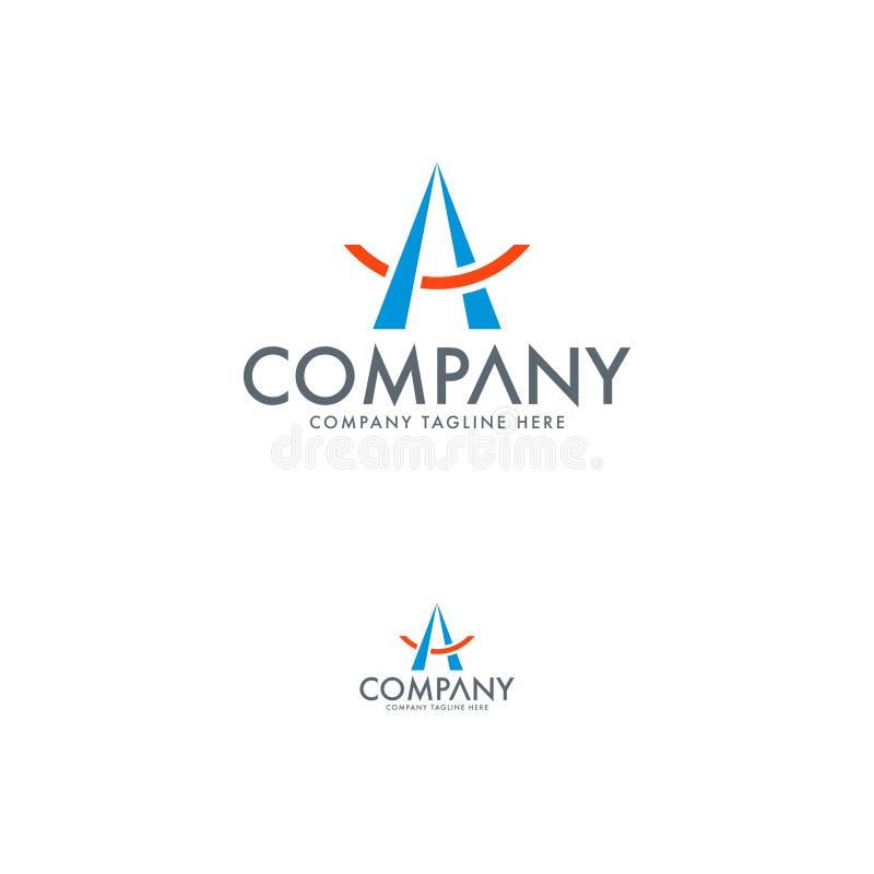 Pisze list A logo i campingowego namiotu logo szablony royalty ilustracja
