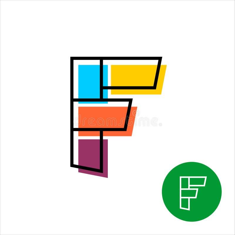 Pisze list A logo z geometrycznymi kształtami i liniami ilustracji
