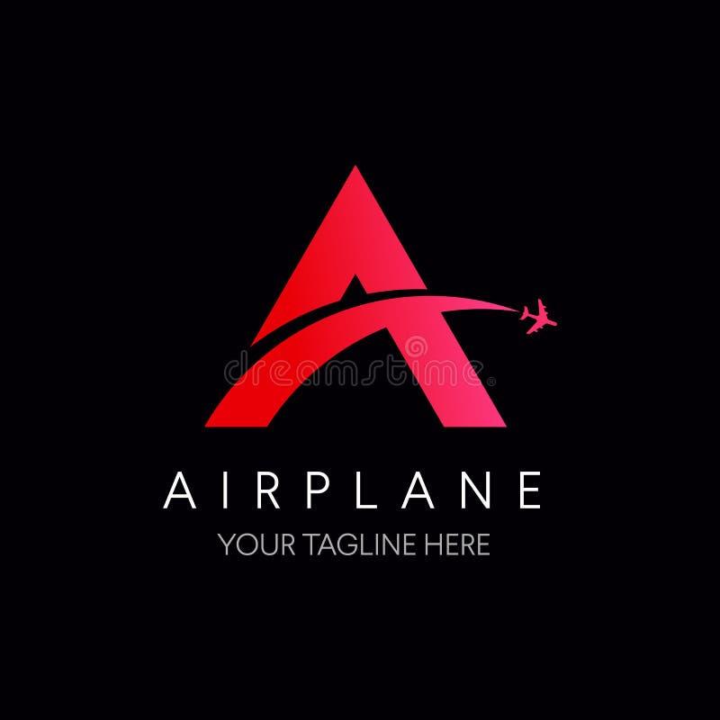 Pisze list A logo z samolotowym symbolem, podróż logo ilustracji
