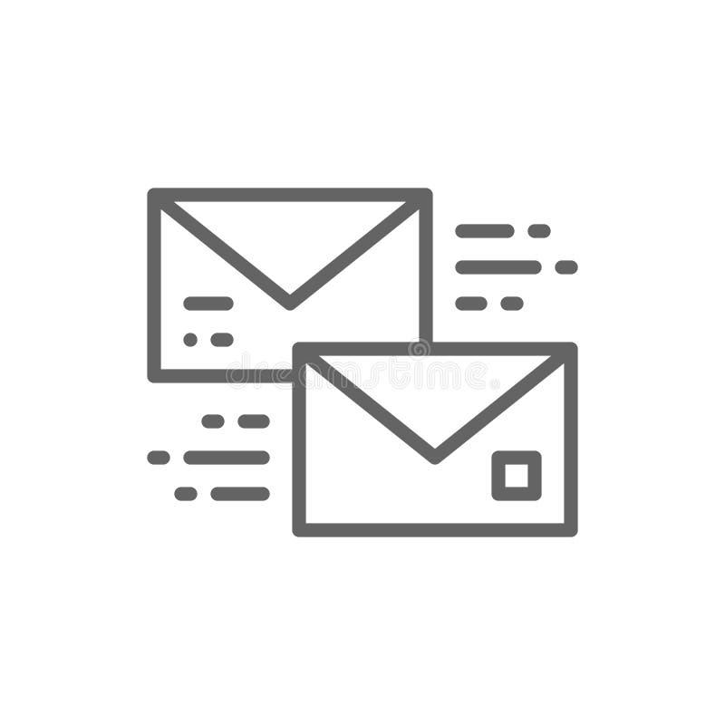 Pisze list, otrzymywa i wysy?a, wiadomo?? b?bel, gaw?dzenie, komunikacyjnej linii ikona royalty ilustracja