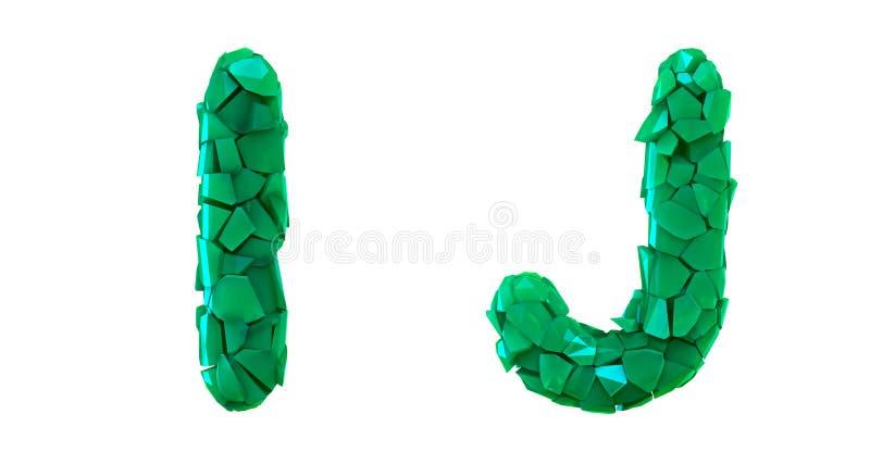 Pisze list set Ja, J robić 3d odpłaca się plastikowych czerepy zielony kolor ilustracji