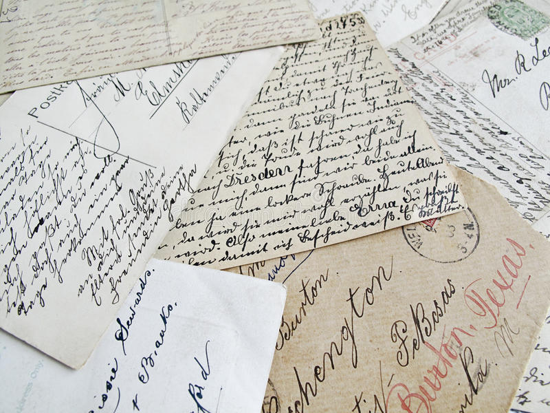 pisze list starego obraz stock