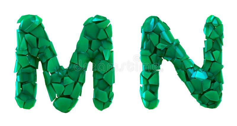 Pisze list ustalonego M, N robić 3d odpłaca się plastikowych czerepy zielony kolor royalty ilustracja