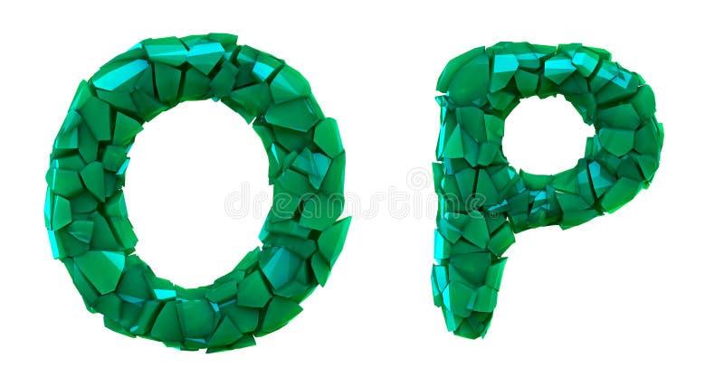Pisze list ustalonego O, P robić 3d odpłaca się plastikowych czerepy zielony kolor ilustracji