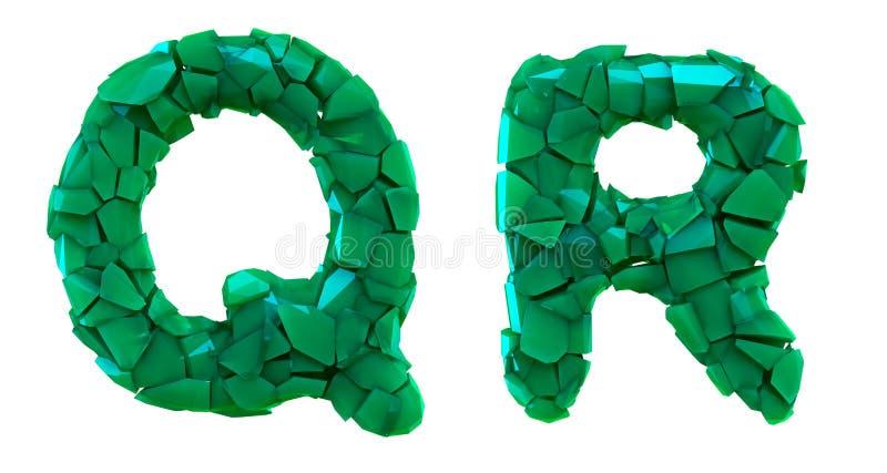 Pisze list ustalonego Q, R robić 3d odpłaca się plastikowych czerepy zielony kolor ilustracji