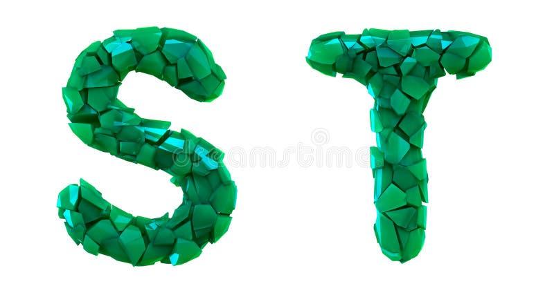 Pisze list ustalonego S, T robić 3d odpłaca się plastikowych czerepy zielony kolor ilustracja wektor