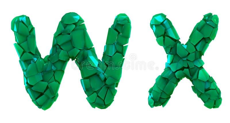 Pisze list ustalonego W, X zrobił 3d odpłaca się plastikowych czerepy zielony kolor royalty ilustracja