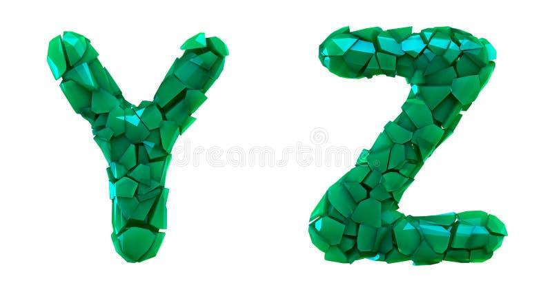 Pisze list ustalonego Y, Z robić 3d odpłaca się plastikowych czerepy zielony kolor ilustracja wektor