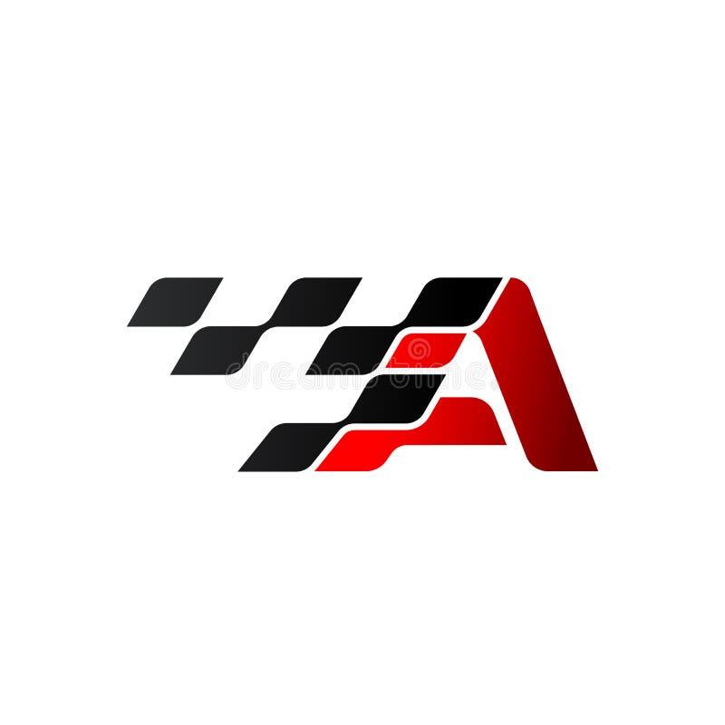 Pisze list A z bieżnym chorągwianym logo royalty ilustracja