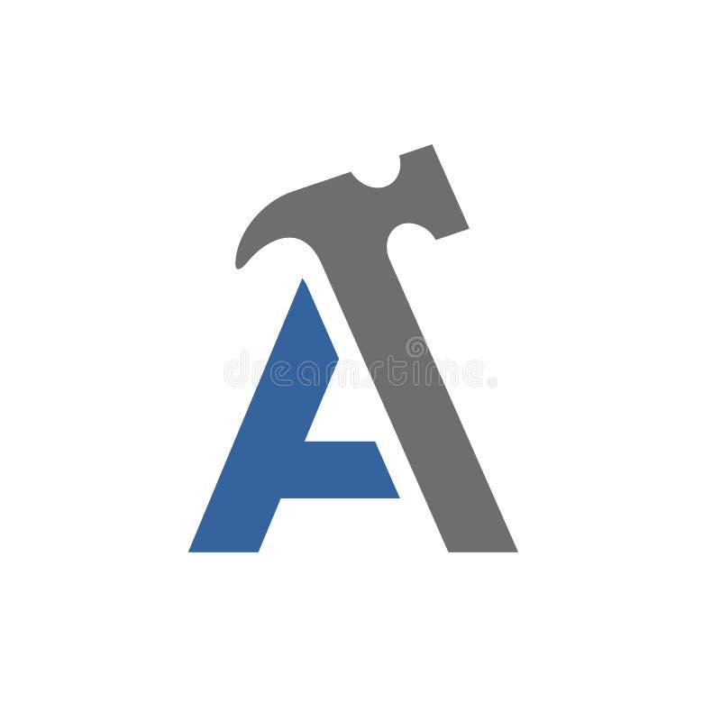 Pisze list A Z młotem, Wektorowy loga projekt royalty ilustracja