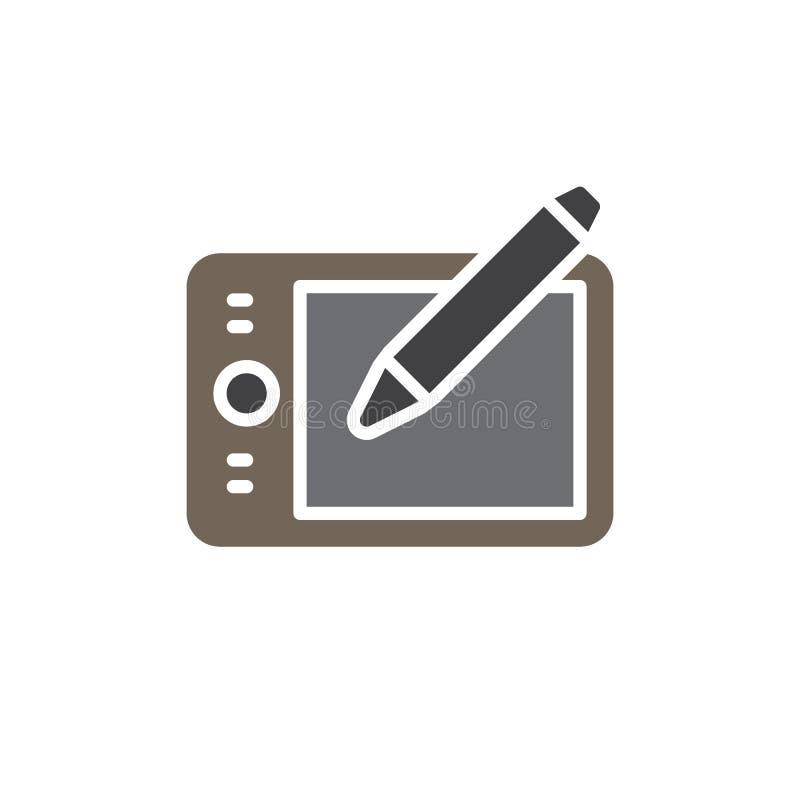Pisze pastylki digitizer wektorową ikonę, kolorowy znak ilustracja wektor