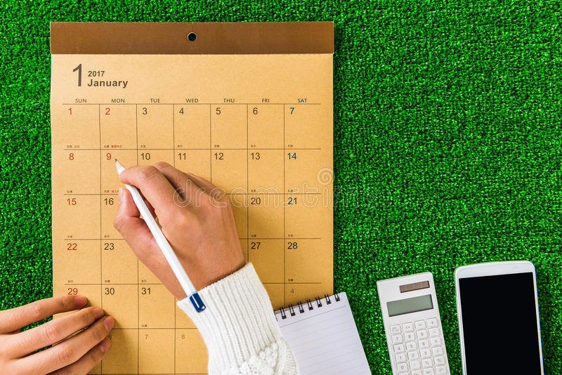 Pisze rozkładzie kalendarz obrazy stock