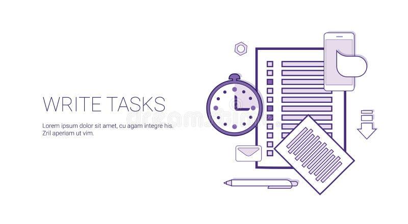 Pisze zadaniach Planuje Biznesowego pojęcie sztandar Z kopii przestrzeni Cienką linią ilustracji
