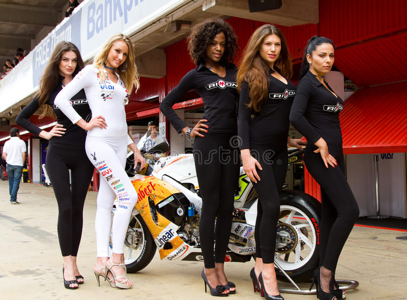 Pit babes. Pit Babe poses for photos in the paddock during the Moto GP Grand Prix of Catalonia, on June 5, 2011 in Barcelona, Spain stock image