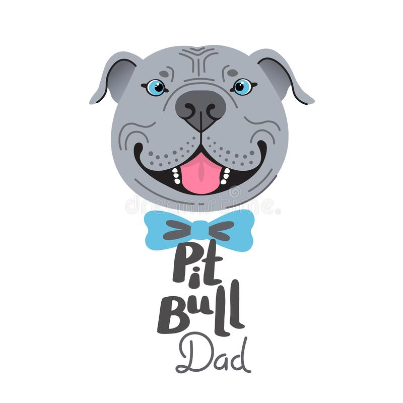Pit Bull Dad. Image of happy father dog. American Staffordshire Pitbull Terrier face. Vector illustration royalty free stock photos