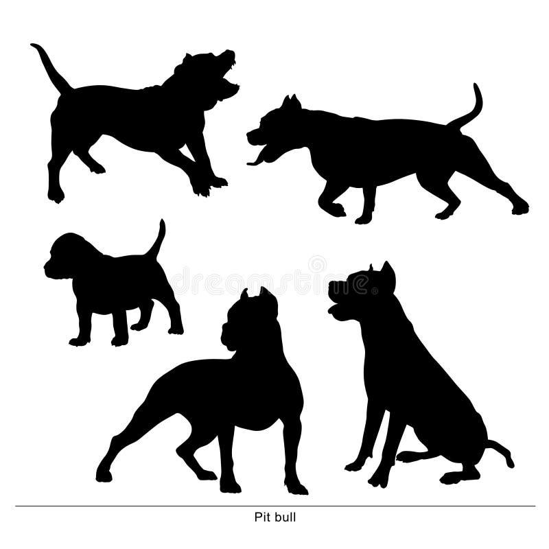 Pit Bull Dog hunden är stor och liten vektor illustrationer