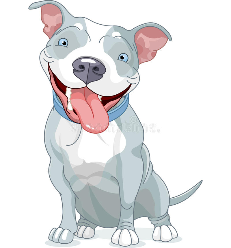 Pit Bull Dog. Illustration of Cute Pit Bull Dog