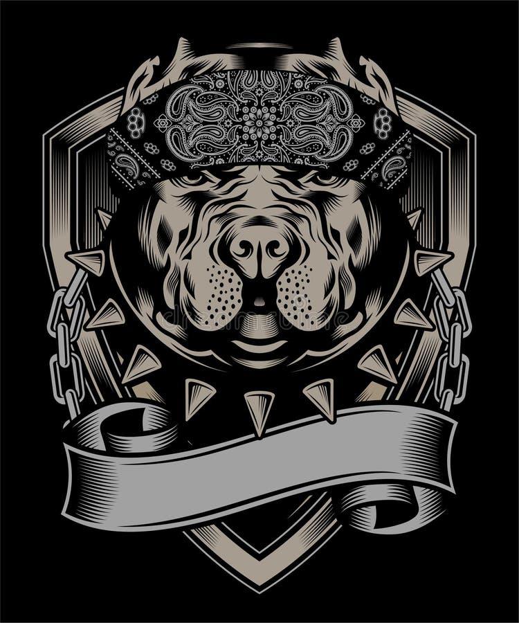 Pit bull jest ubranym bandany ręki rysunkowego wektor royalty ilustracja