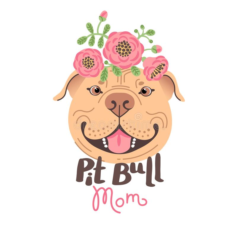 Pit Bull Mom. Image of happy mother dog. American Staffordshire Pitbull Terrier face. Vector illustration stock photos