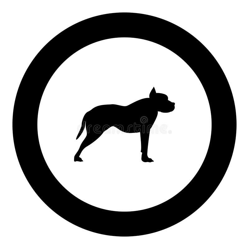 Pit bull teriera ikony czerni kolor w round okręgu ilustracja wektor