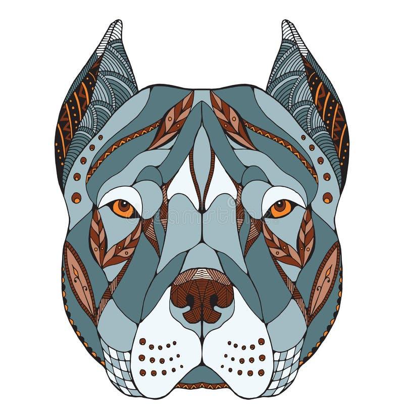 Pit bull terrier head zentangle stylized, vector, illustration, stock photos