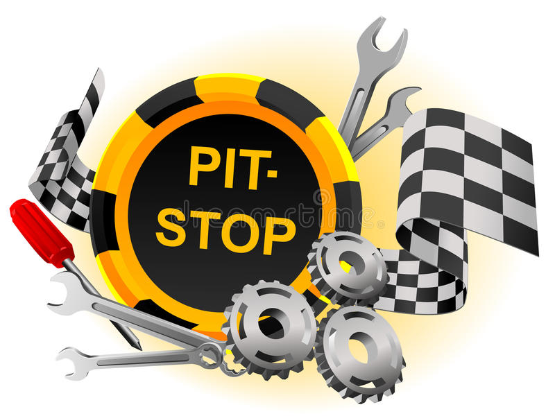 Pit-stop. Sign pit-stop in a vector with the tool and gears royalty free illustration