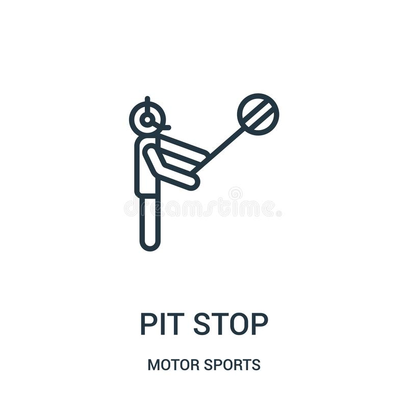pit stop icon vector from motor sports collection. Thin line pit stop outline icon vector illustration. Linear symbol vector illustration