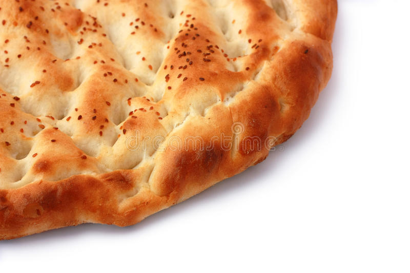 Pita Bread isolated with diagonal half copyspace royalty free stock photo