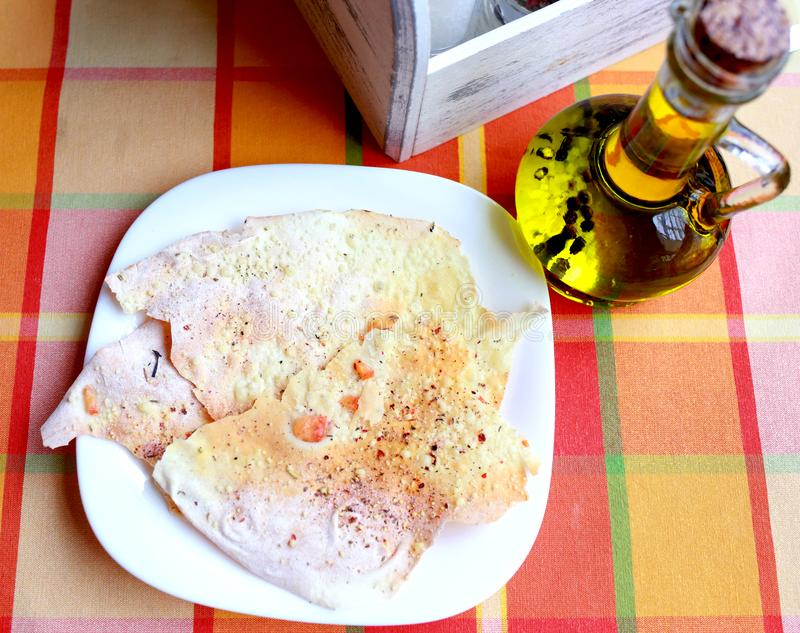 tasty pita bread and a bottle of olive royalty free stock image