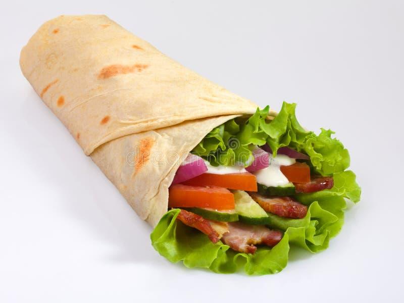 pita Kebab 面卷饼 免版税库存图片