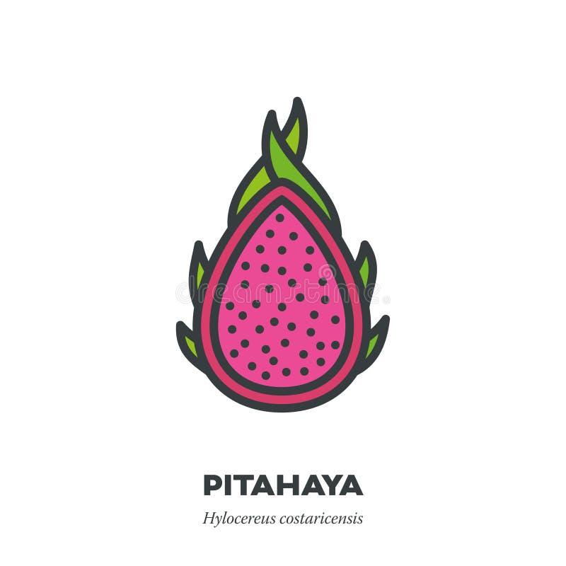 Pitahaya果子象,填装了概述样式传染媒介 库存例证
