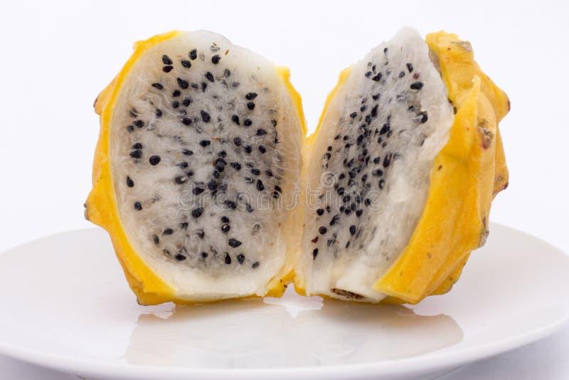 Pitahaya amarelo (megalanthus do Selenicereus), Pitaya ou Dragon Fruit Peru recolhido imagem fotografia de stock royalty free