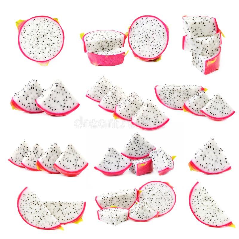 Pitaya épluché ou Dragon Fruit d'isolement sur le fond blanc images libres de droits