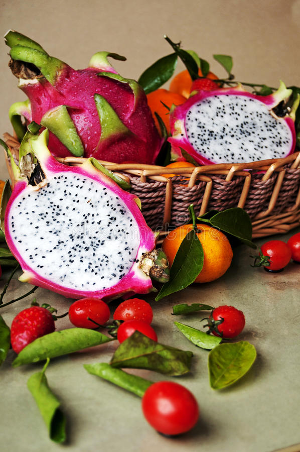 Pitaya. Is nutritious, unique features, it contains general plant rare plant albumin and anthocyanin, rich in vitamins and water-soluble meal fiber stock photo