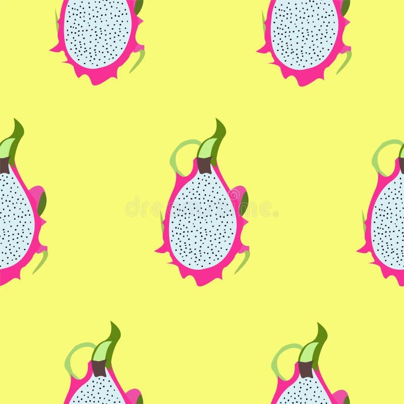 Pitaya/Pitahaya Het naadloze patroon van het draakfruit Vector grafiek royalty-vrije illustratie